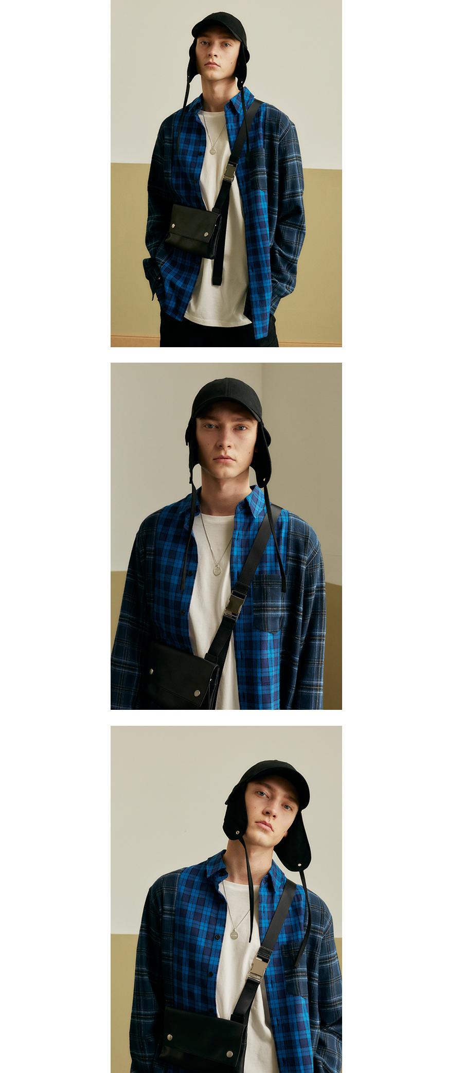 인사일런스(INSILENCE) MIXED CHECK SHIRT (blue)