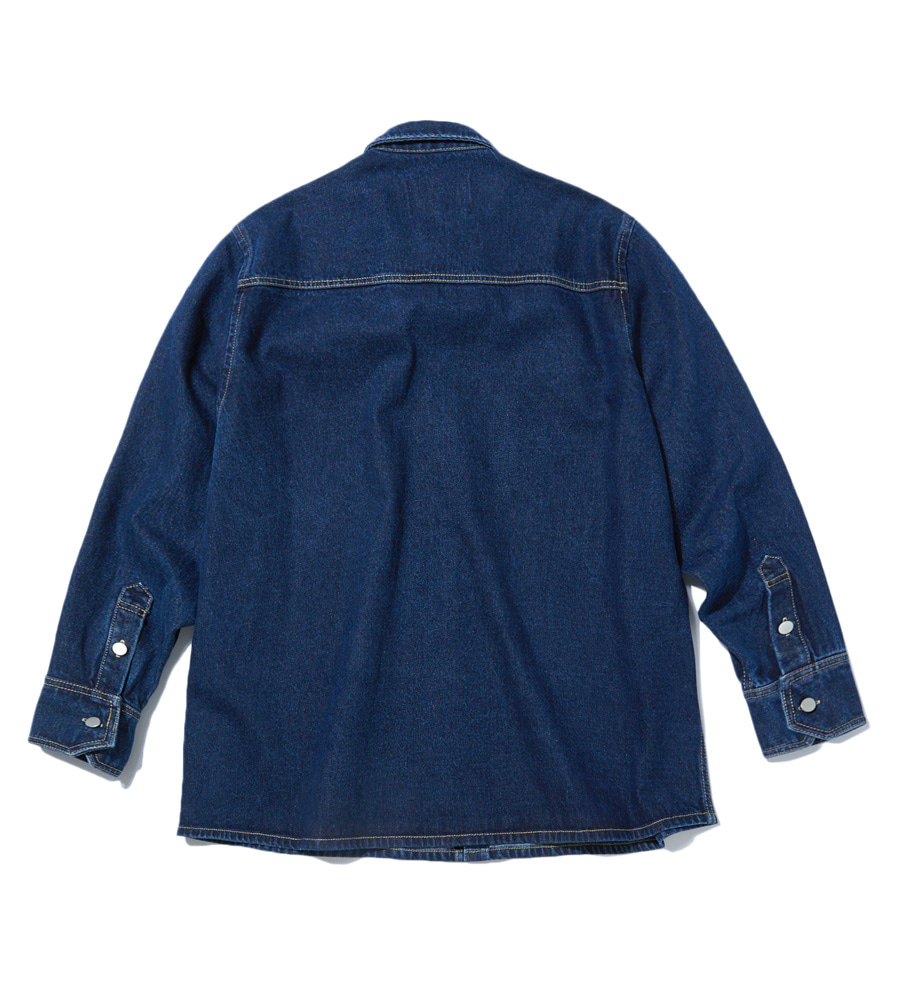 인사일런스(INSILENCE) OVERSIZED DENIM SHIRT (blue)