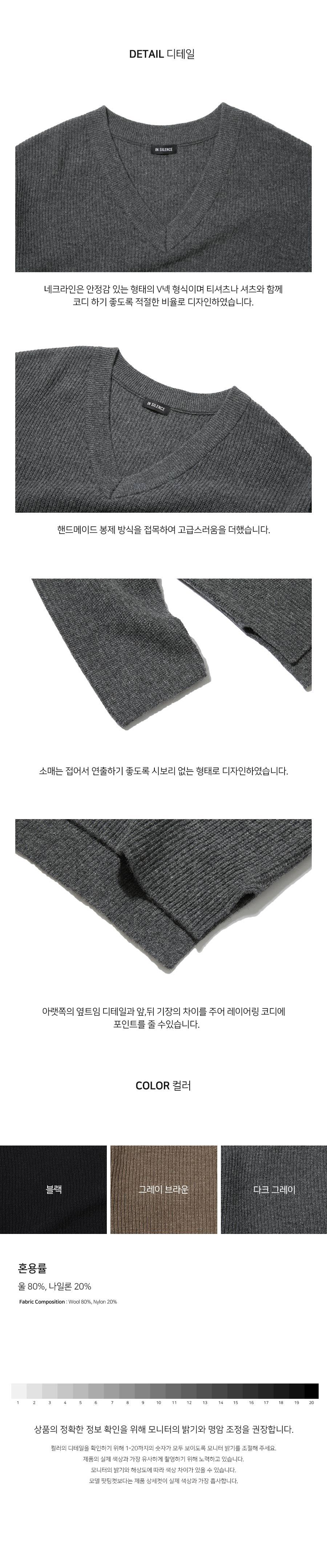 인사일런스(IN SILENCE) OVERSIZED WOOL V NECK KNIT (dark grey)