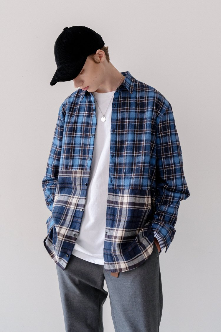 인사일런스(INSILENCE) 2 CUT POCKET SHIRT (blue)