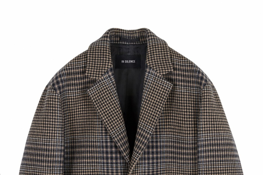 인사일런스(INSILENCE) CHECK LONG COAT (brown check)