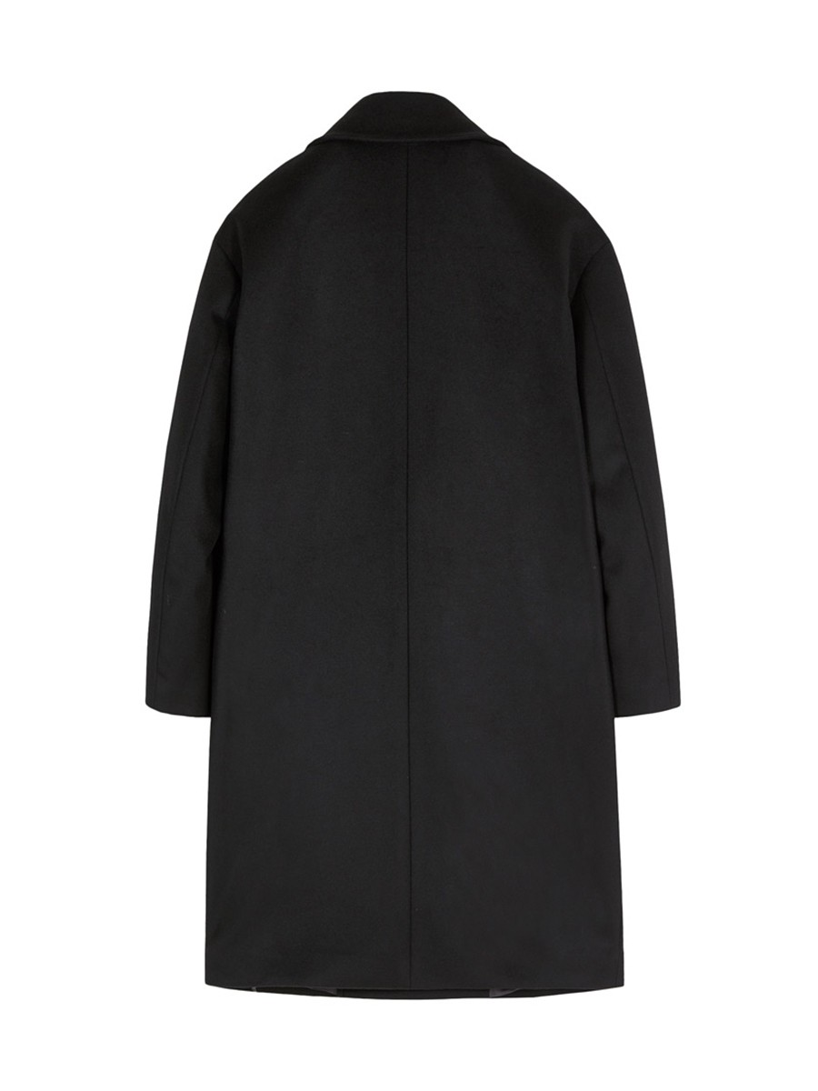 인사일런스(IN SILENCE) 더블 오버사이즈 캐시미어 코트 BLACK