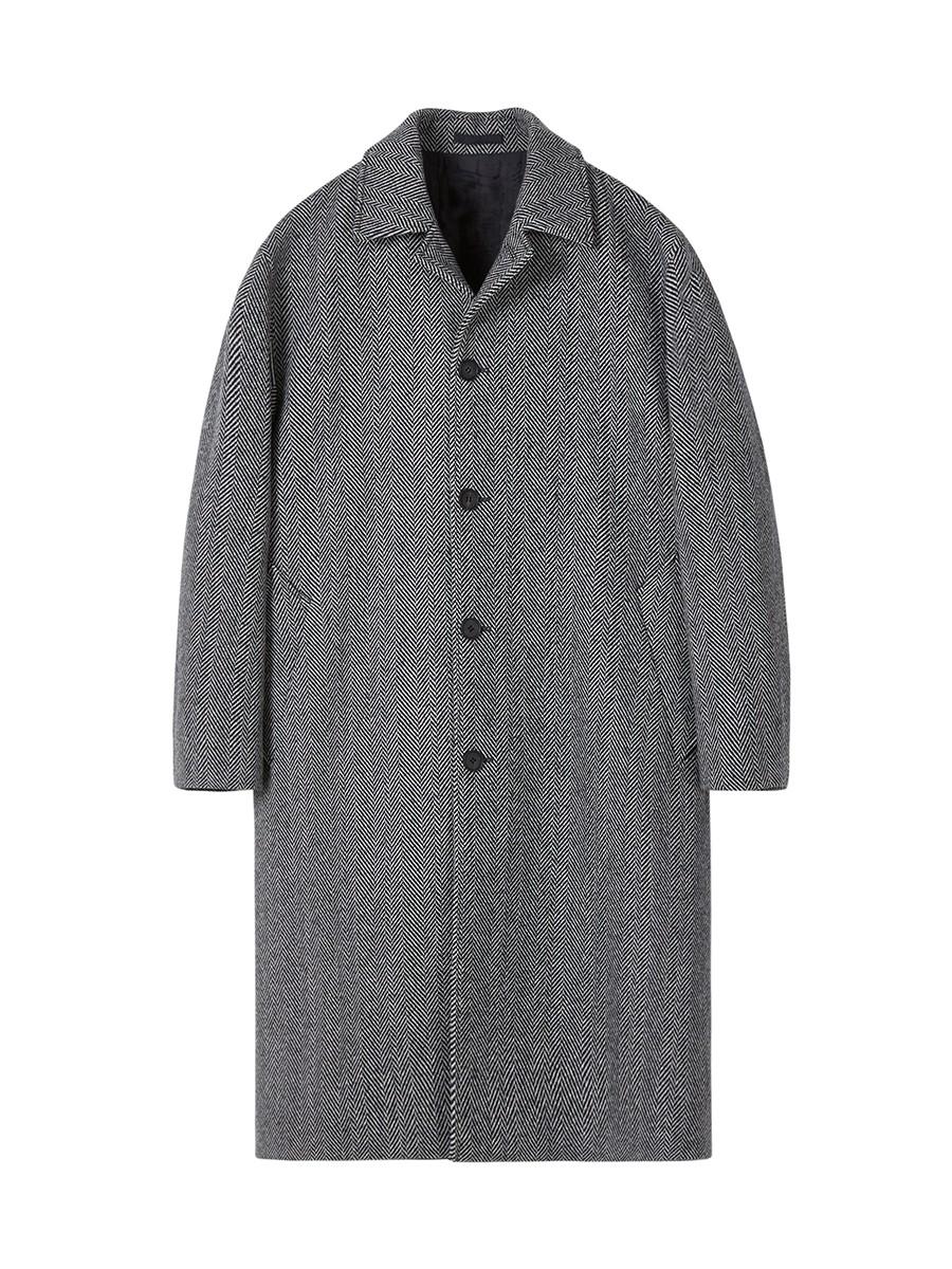 인사일런스(IN SILENCE) 오버사이즈 발마칸 코트  HERRINGBONE