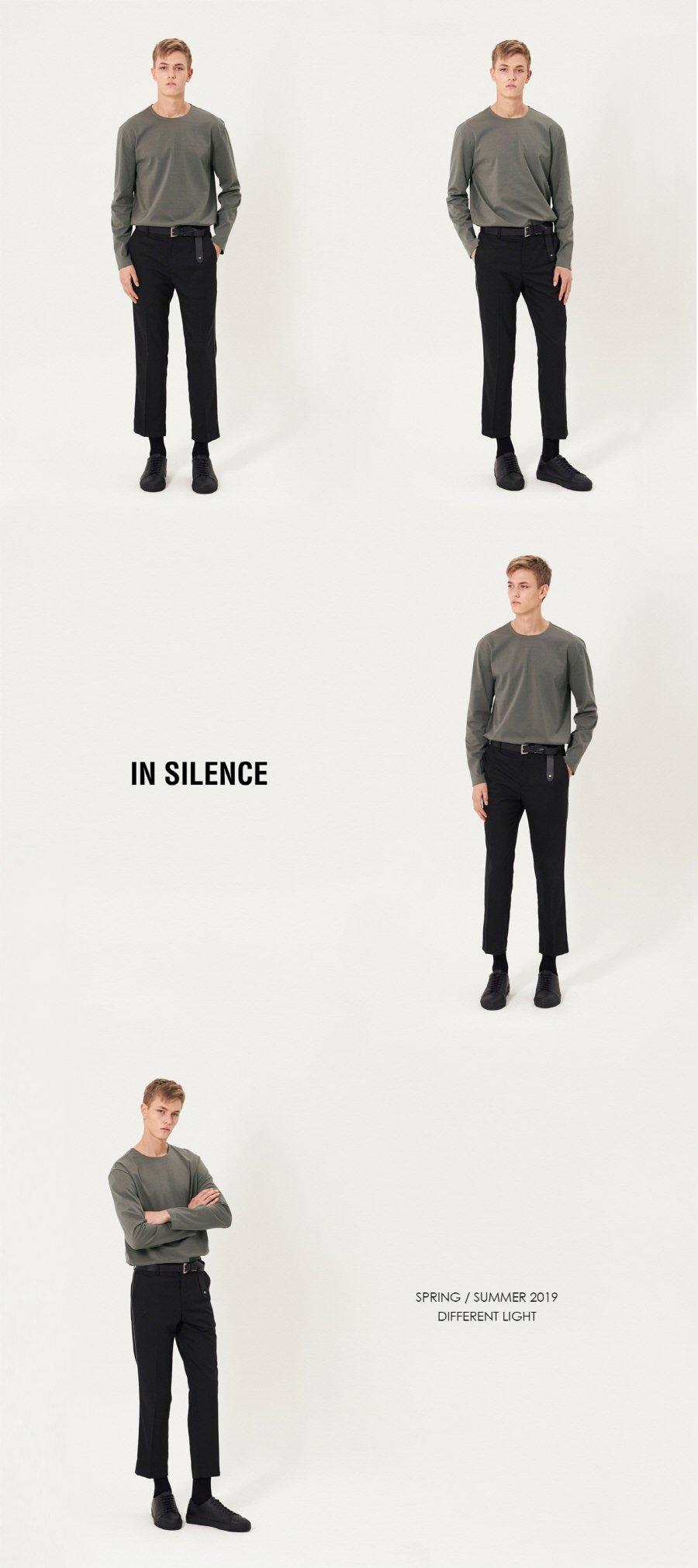 인사일런스(INSILENCE) 사이드 파이핑 슬랙스 BLACK