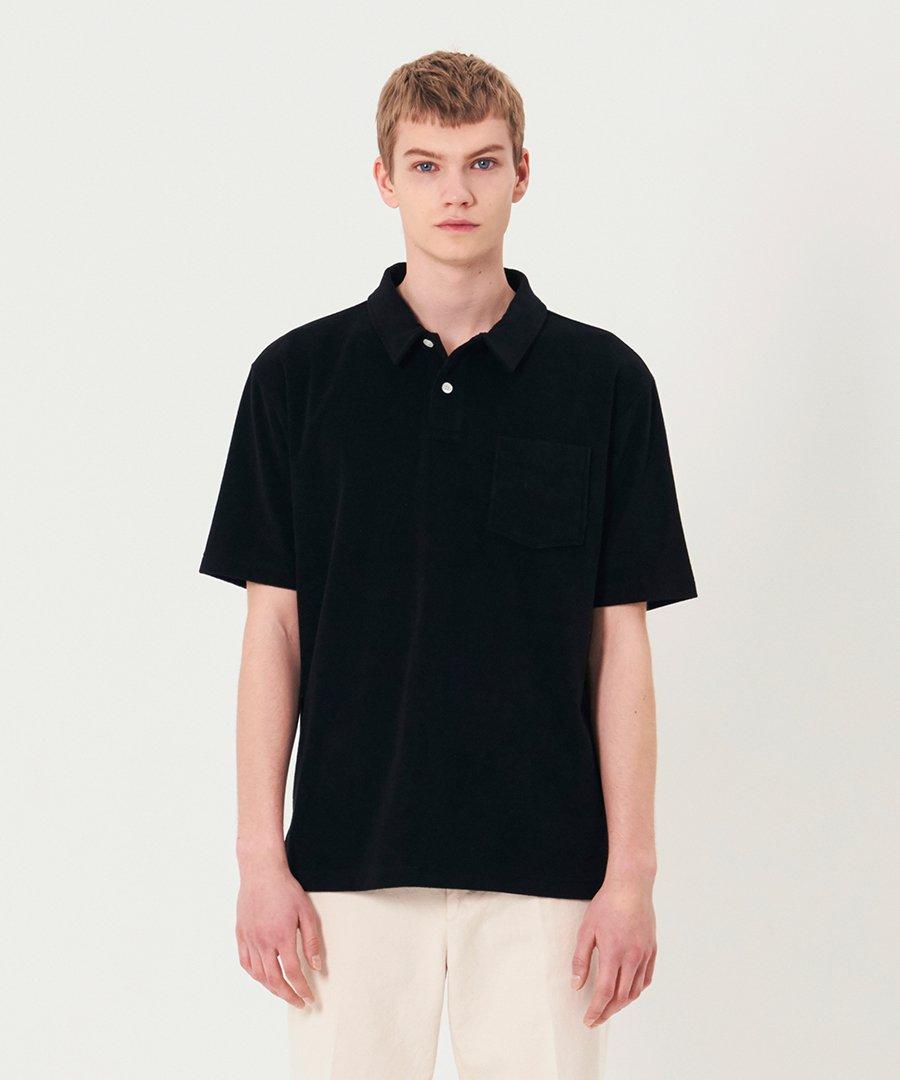 인사일런스(IN SILENCE) 타월 폴로 셔츠 BLACK