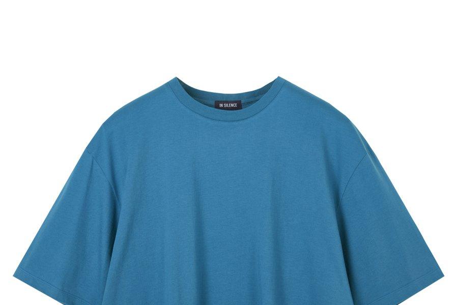 인사일런스(IN SILENCE) 수피마 코튼 티셔츠 TEAL BLUE