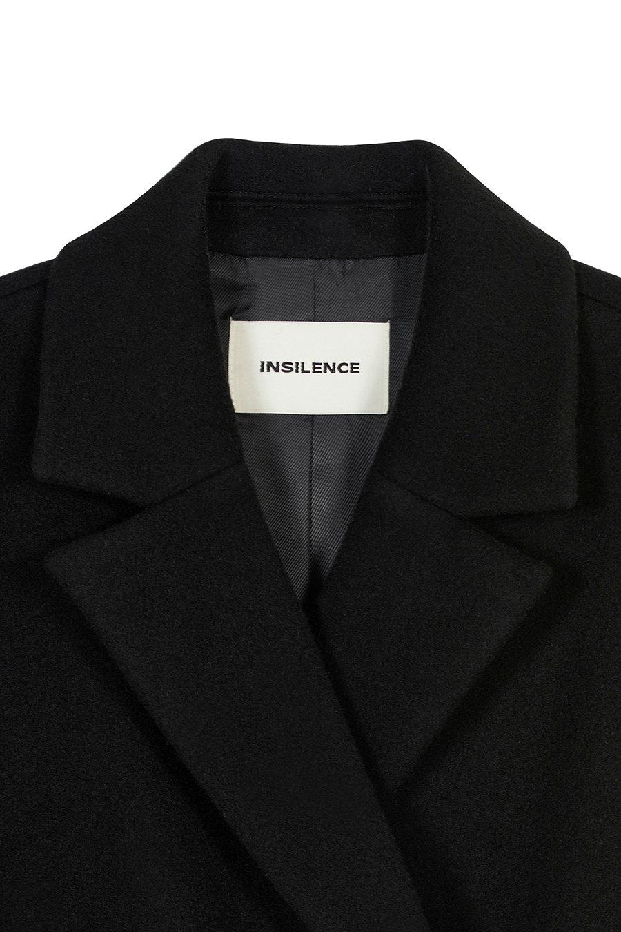 인사일런스 우먼(INSILENCE WOMEN) 더블 브레스티드 캐시미어 피티드 코트 BLACK