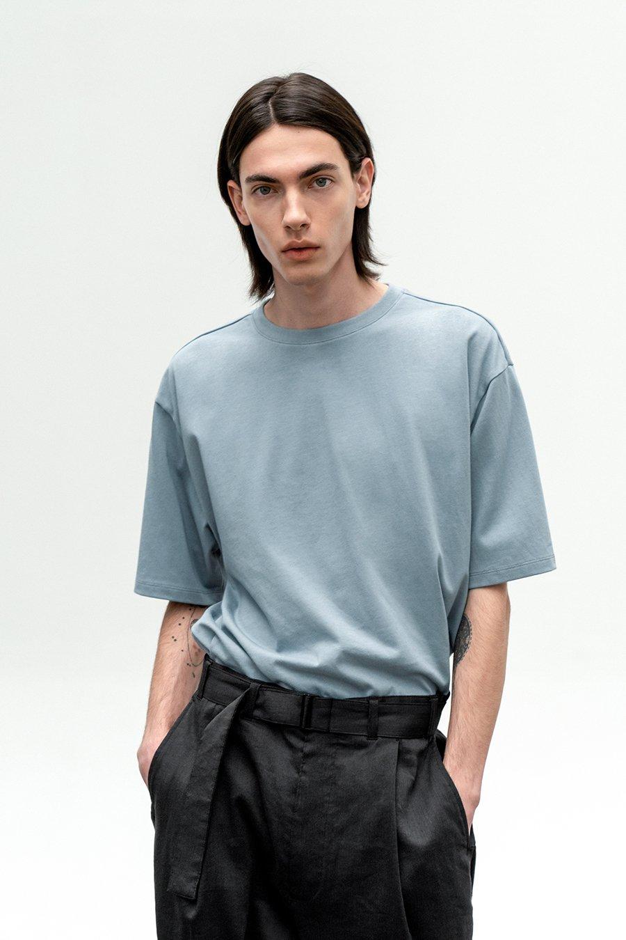 인사일런스(IN SILENCE) 수피마 코튼 프리미엄 티셔츠 ASH BLUE
